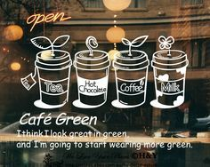 Cake Coffee Cafe TEA Shop Window Sign Stickers Wall Decal Vinyl Decor ART Mural | eBay
