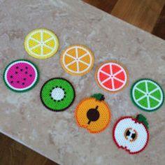 Hama beads - Set of 8 fruit-themed Perler bead coasters by jennionenote Hama Beads Design, Diy Perler Beads, Perler Bead Art, Pearler Beads, Fuse Beads, Hama Beads Coasters, Pearler Bead Patterns, Perler Patterns, Pixel Beads
