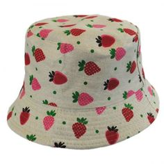 All kids look cute in bucket hats so why not one with strawberries all over it. Hat Shop, Kids Hats, Girl With Hat, Hat Making, Child Models, Hat Sizes, Low Key, Bucket Hat, Little Girls
