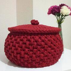 DIY - cestos em crochê com fio de malha