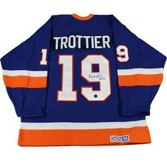 Bryan Trottier Signed New York Islanders Retro CCM Hockey Jersey w/ 'HOF 97' Insc (AJ Sports Auth)