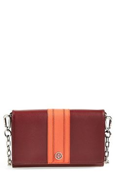 Tory Burch 'Robinson' Wallet on a Chain Virginia Tech Football, Virginia Tech Hokies, Tailgate Outfit, Shades Of Burgundy, Couture, Purses And Handbags, Leather Wallet, Tory Burch, Creations