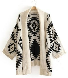 Trendy Style Collarless Long Sleeve Geometric Pattern Women's Cardigan Sweaters & Cardigans | RoseGal.com Mobile