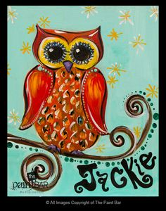 Turquoise Owl Painting