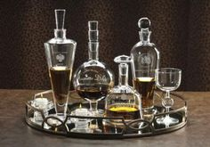 Wine, water, or cognac, whatever they wanted to drink would somehow just taste better served from these elegant etched decanters. They'd look handsome on the trays on the buffet cabinet. #HomeDecorators     Etched Decanters