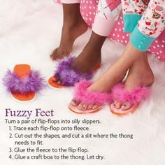 Slumber party craft!  Another flip flop transformation with just the BLING that all little girls will love!!