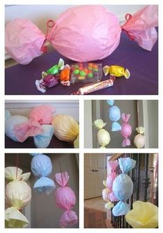 Hello Kitty Girl's Birthday (He … – Baby Shower Party Candy Theme, Candy Party, Balloon Pinata, Candy Decorations, How To Make Ornaments, Diy Birthday, Candyland, Baby Shower Parties, Diy And Crafts