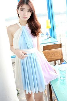Contrast Shirred Chiffon Dress - OASAP.com