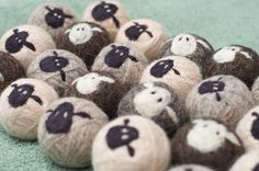 Sheepy Wool Dryer Balls $24 USD for set of 3 tricolour undyed felted wool dryer balls.