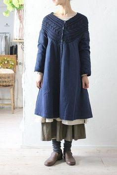 """Alacrity Arakuriti W gauze & knit OP"" Natural clothing mail order Blanc et Beige Blanc et beige a + koloni colony alacrity alacrity linen coat linen dress"