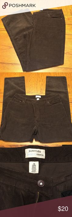 NWOT Brown Corduroy Pants Brown Corduroy Pants. NWOT and never worn. Size 16 straight leg fit St. John's Bay Pants Straight Leg
