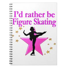 RATHER BE SKATING SPIRAL NOTEBOOK Awesome figure skating gifts for your beautiful Ice Princess.  http://www.zazzle.com/mysportsstar/gifts?cg=196621838645756107&rf=238246180177746410 #figureskating #Figureskater #Figureskatinggifts #BorntoSkate #Loveskating
