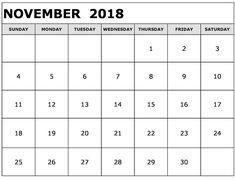 November 2018 Printable Calendar Floral Templates