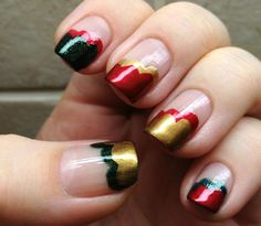 """This fun twist on French manicures is a classy way to channel your holiday spirit. """"Courtesy of laatikollinenlakkaa.blogspot.com""""  - MarieClaire.com"""