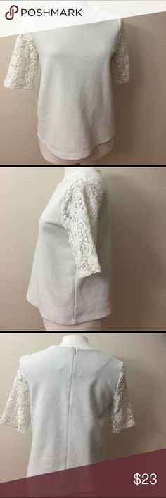"""Make an offer! Lace sleeve Blouse Lace sleeve shirt sleeve body contrast Blouse. Perfect transition top  go from work to everyday life in this gorgeous piece. Pit to pit 19"""" length 21"""".                          Photo credit: thenortheastgirl LOFT Tops Blouses"""