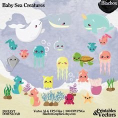 Baby Sea Creatures Clipart: 30 Vector Digital by BlacboxGraphics