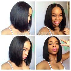 U Part Human Hair Bob Wigs 130-150density Brazilian virgin Human Hair U Part Wig Bob For Black Women Free Shipping