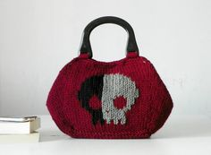 Skull pattern Knitting women Tote fashion colors Knit by NzLbags, $115.00