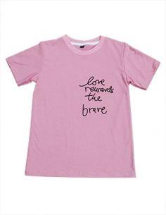 Áo thun teen in chữ màu hồng - B1409