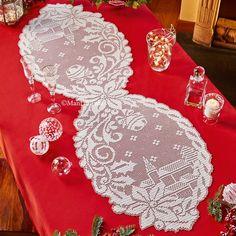 Scheme to realize the crochet filet runner Crochet Doily Patterns, Crochet Chart, Filet Crochet, Irish Crochet, Crochet Doilies, Crochet Stitches, Holiday Crochet, Crochet Home, Crochet Table Runner