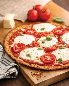 #3  Bake the crust for 45–50 minutes, or until it begins to brown.  Cooking Pizza: Top with your favorite toppings and bake again at 350°F for 8–10 minutes, just until cheese is melted and toppings are hot.  Calories: 70 • Fat: 3.5g • Protein: 6g • Total Carbs: 3g – Fiber: 1.5g = Net Carbs: 1.5g  Helpful Tips:  When shopping for pizza sauce to top this crust, always be sure to check the ingredients for corn syrup or any added sugar.