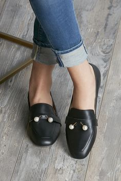 Black leather loafer with pearl embellishments | Sole Society Caspar