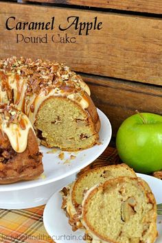 Caramel Apple Pound Cake | A tender cake with TWO layers of of sweet brown sugar apples, topped with a cream cheese frosting drizzle, caramel and a sprinkling of pecans. #dessert #cake #apples #recipes #food #foodie #ladybehindthecurtain