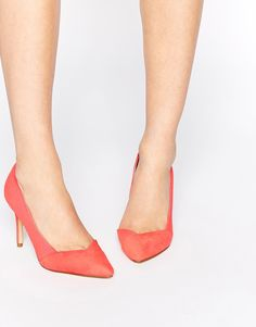 New Look Sol Coral Asymmetric Heeled Court Shoes
