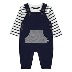 Kitting out your mini-me is easy, thanks to this jersey dungarees outfit set with a super-soft lining for added comfort. It includes a striped long sleeve te. Toddler Fashion, Boy Fashion, Dungarees Outfits, Baby George, Settee, Fashion Games, Latest Fashion For Women, Toddler Boys, Kids Outfits