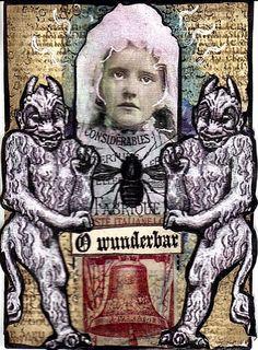 Wunderbar Original Art Mixed Media Collage ACEO vintage Venecia outsider #OutsiderArt