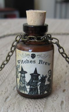 Witches Brew Potion Poison Bottle Necklace Pendant Apothecary Vial