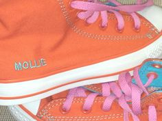 Personalized kicks worn with ball gown Perfect for a bat mitzvah girl!