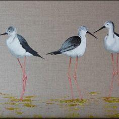"""Tableau oiseau """" échasses blanches au marais"""", peinture animalière sur toile de lin naturel."""