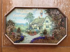 Vintage 3D Wall Art God Bless Our Home Dried Flowers