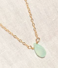 Chalcedony Droplet Necklace/Minimalist by #HartsockDesigns Jewelry on #Etsy  A gorgeous tiny semiprecious #stonependant on a #delicate gold, silver, or rose gold chain. A perfect start to #layeringnecklaces