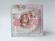 Kartka szaro-różowa dla dziewczynki na roczek Baby Scrapbook, Scrapbook Paper, Decor Crafts, Diy And Crafts, Papier Diy, Shaker Cards, Baby Cards, Artisanal, Cute Cards