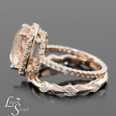 This is our Beautiful 3.5 Carat Cushion Cut Morganite Wedding Set with 14kt Rose Gold Pave Diamond Wedding Band - LS3341 We can Custom Design this to your liking at www.LaurieSarahDesigns.com