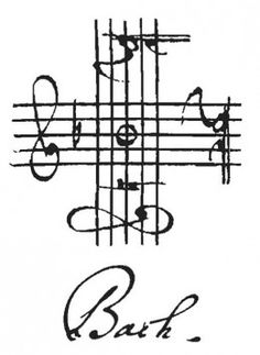 "The Musical Cross by J. Bach as his signature. If you read a note (German notation) on the musical cross by starting from the left then go clockwise, you can spell his name ""BACH"". B: Left (Treble. Sound Of Music, Good Music, My Music, Reggae Music, Music Stuff, Sebastian Bach, Johann Bach, Bagdad Cafe, Music Score"