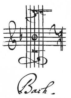 La firma musical de Bach. El nombre de las notas en alemán sigue el orden alfabético y empieza desde el La: A (la), B (si bemol), C (do), D (re), E (mi), F (fa), G (sol), H (si natural). La firma comienza a escribirse desde la clave de Sol de la izquierda, siguiendo el sentido de las agujas del reloj tenemos las letras del nombre de BACH (Si bemol - La - Do - Si natural) Esta sucesión de 4 notas crean una breve melodía que Bach utilizó para firmar algunas de sus obras.