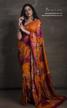 Printed Floral Tussar Silk Saree in Orange and Magenta Tussar Silk Saree, Mulberry Silk, Magenta, Sari, Printed, Orange, Floral, Collection, Fashion
