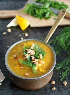 Immune-boosting and healing vegetable soup with corn, ginger, garlic, turmeric and lots of fresh dill. Vegan + GF + Oil-free