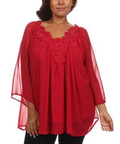 Look what I found on #zulily! Burgundy Crochet-Yoke Cape-Sleeve Top - Plus #zulilyfinds