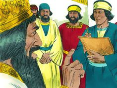 King Darius wrote to the people of every nation. 'I command that everyone should fear and respect Daniel's God. He is a living God, and He will rule forever. His kingdom will never be destroyed, and His power will never come to an end. He rescues and performs miracles. He saved Daniel from being killed by the lions.' – Slide 14