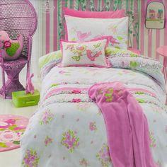 Shabby Chic Quilt Cover Set Doona Duvet Cover Girls Bedding Floral Flowers Birds