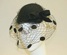 Calot Sally Victor (American, Date: 1943 Culture: American Medium: [no medium available] Dimensions: Width (s to s): 6 in. cm) Credit Line: Gift of Ralph Ingersoll, in memory of his wife, Elaine Keiffer Ingersoll, 1948 Millinery Hats, Fascinator Hats, Fascinators, Retro Fashion, Vintage Fashion, 1940's Fashion, Suzy, Caroline Reboux, 1940s Woman