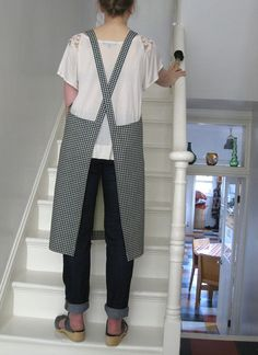 Gingham print cotton pull-on apron. Pull-on no by ADogLikeSparky