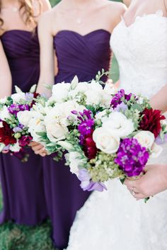 Wedding Colors - Deep Purple for Bridesmaids with accents in Bouquets. See more on #smp here: http://www.StyleMePretty.com/tri-state-weddings/2014/04/17/new-jersey-barn-wedding-full-of-elegance/ Photography: Michelle Lange - www.LoveAndBeMarried.com