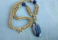 Chainmaille necklace blue kyanite pendant by EileensBeadedJewelry, $62.00 #chainmaille #kyanite #stonependant