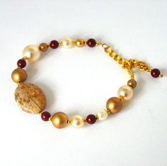 Bracelet with Coral Fossil Burgundy Swarovski  Pearls by Pookledo, £14.00