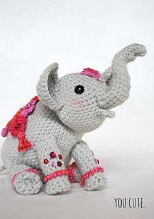 """Amigurumi Elephant - free crochet pattern by You Cute. """"Painted"""" Indian Elephant celebrating the arrival of Spring and Holi Festival in India."""